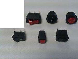 6 Stück Schalter Sortiment Netzschalter mit + ohne Kontroll-Leuchte NEU Posten