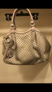 Gucci Sukey Monogram Diamante Hobo  Beige Canvas Satchel 866868