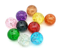 100 ASSORTED CRACKLE GLASS BEADS 10mm~bracelet~earrings~necklace~cards (88E) UK.