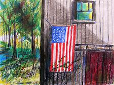 Flag Barn Farm Landscape Original Drawing JMW Art John Williams Impressionism