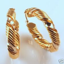 18k Gold Twisted Hoop Earrings!  Yellow & White Gold!