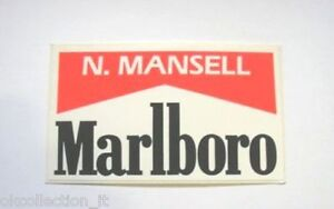 VECCHIO ADESIVO AUTO F1 / Old Sticker F1 NIGEL MANSELL MARLBORO (cm 11,5 x 6,5)