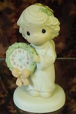 """Precious Moments-#455849 """"Time For A Holy Holiday"""" Angel Holding Clock- Nib"""