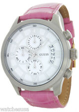 Guess Women's White Dial Stainless Steel Case Pink Leather Band Watch W12101G1