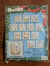 New Bucilla 1993 Pastel Christmas Nativity 12 Ornament Cross Stitch Kit 83045