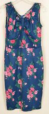 POPPY & BLOOM Womens Shift Dress Size 10 Blue Pink Green Floral Sleeveless NWOT