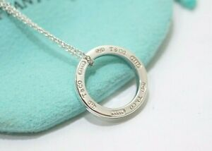 """Auth Tiffany & Co. 1837 Sterling Silver Circle Pendant Necklace 16"""""""