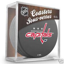 WASHINGTON CAPITALS Hockey TEAM LOGO 4 COASTERS SET NEW Made from Actual Puck