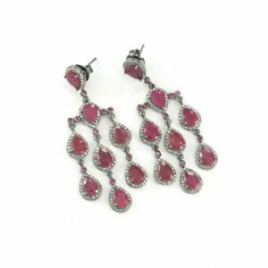 Vintage Ruby Dangle Earring 925 Sterling Silver Pave Diamond Designer Jewelry
