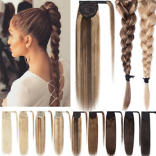 "Thick Straight Wrap Clip in Ponytai 100% Real Remy Human Hair Extension 16""-26"""