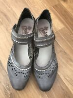 Ladies Reiker sandals Uk 6 39 grey holiday summer heeled womens leather rieker