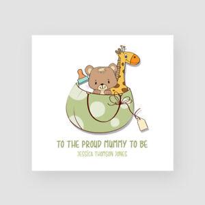 Personalised Handmade Baby Shower Card - For Her, Mum To Be, Bear & Giraffe