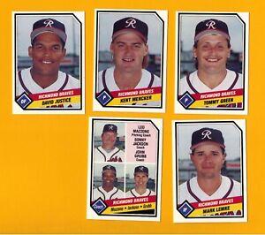 1989 TCMA RICHMOND BRAVES JUSTICE LEMKE MERCKER Minor AAA Baseball Team Set