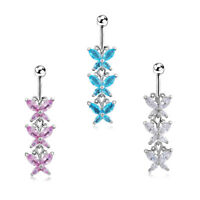 Butterfly Crystal Drop Navel Belly Button Ring Bar Body Silver Piercing Jewelry
