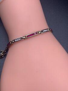Vintage 9ct Gold Hallmarked Ruby & Diamond Bracelet.6.77g