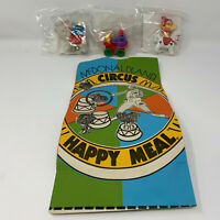 Vintage 1989 McDonalds McDonaldland Circus Happy Meal 1 Bag and 3 Unopened Toys