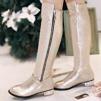 Ladies Women's Riding Mid Block Heel Shoe Pointy Toe Faux Leather Knee High Boot