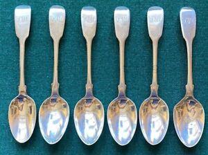 Antique Victorian British Solid Silver Set of 6 Teaspoons London Benjamin Smith
