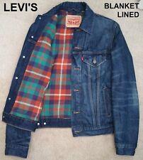 LEVI'S trucker jacket blanket lined flannel jean blue dark type-iii 3 denim nr S