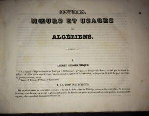 ALGÉRIE. COSTUMES, MOEURS ET USAGES DES ALGÈRIENS ,1837. 35 LITHOGRAPHIES.