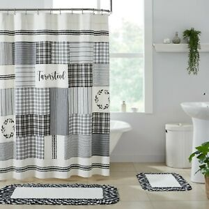 Sawyer Mill Black Stenciled Patchwork Country Cottage Farmhouse Shower Curtain