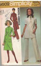 9509 Vintage Simplicity Sewing Pattern Misses Dress Tunic Pants Designer Fashion