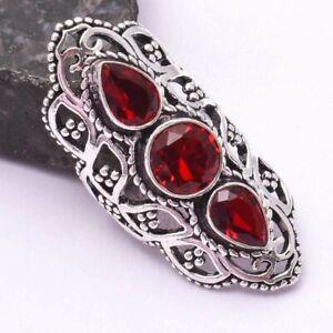 Garnet Ethnic Handmade Three Stone Ring Jewelry US Size-7.5 AR 43650