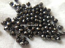 1.20 ct 2.4-2.6 MM Natural Opaque Black Loose Faceted Diamond Beads Drilled #449