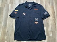 Rare Harley Davidson Motorcycles Patches Biker Button Up Black Mechanic Shirt L