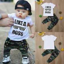 Toddler Kids Baby Boy Cute Outfits Short Sleeve T-Shirt Top+Pants Clothes Set