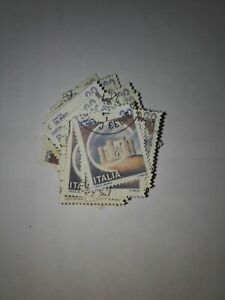 50 Used Italy Stamps off paper - Castle - Castel del Monte - Craft - Ephemera