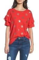 Current/Elliott NWT Women's Ruffle Roadie Red Foil Star Tee Shirt Size 3 (Large)