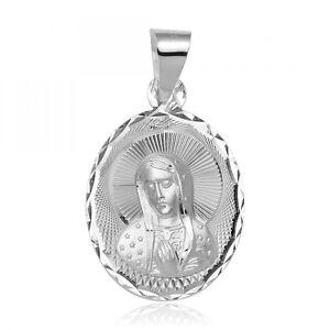 Argent Sterling Haut Poli Diamant Coupe Mère Mary Pendentif / Charm,Boîte Chaîne