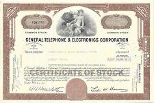 GENERAL TELEPHONE & ELECTRONICS CORPORATION....1971 COMMON STOCK CERTIFICATE