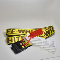 Neu Off White Tie Down Yellow Nylon Cotton Big IRON Head Industrial Belt 200CM