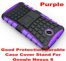 Purple Heavy Duty Strong Tradesman TPU Hard Case Cover Stand For Google Nexus 6