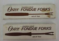 Vintage Oster Fondue Forks Set of 4 Stainless Steel Wood Handles - Lt of (2)