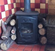 Woodburning stove, Aarrow Acorn log burner. Black cast iron with flue.