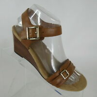 Vionic Noble Laurie Tan Leather Wedge Sandals Buckle Ankle Strap Womens Size 6.5
