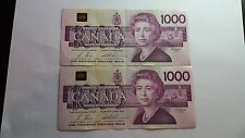 1988 Bank Of Canada 2 Consective $1000 Notes