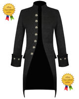 Mens Black Brocade Handmade Jacket Gothic Steampunk Victorian Frock Coat