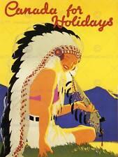 Viaggio in Canada nativi americani testa vestito Piuma TUBO art print poster bb7470b