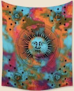 "NEW 60""x52"" Tie Dye Celestial Sun Moon Stars Colorful Tapestry Wall Decor w/Clip"