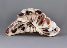 "Cream Brown plastic 4.75"" long barrette Big Huge hair clip claw clamp cutout"