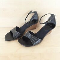 CLARKS WOMENS LADIES WEDGE HEEL ANKLE STRAP SANDALS BLACK LEATHER SIZE UK 5