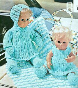 "Baby Dolls Clothes Knitting Pattern 4 ply 12 and 16"" Pram Set & Blanket"