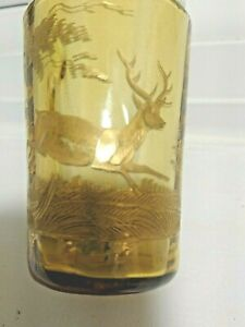 19th Century Antique Bohemian Deer Stag Engraved Gilded Amber Glass Cup Tumbler