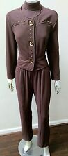 RETRO VINTAGE CACHE' STUDDED WEAR TO WORK FITTED 2 PC JACKET AND JUMPSUIT sz M
