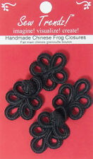 Frogs Button Closures-Black-Five loops Design - 2 Pairs/pk. - #FG4755