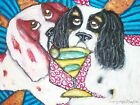 Cavalier King Charles Spaniel drinking Martini Art Print 4x6 Collectible Signed